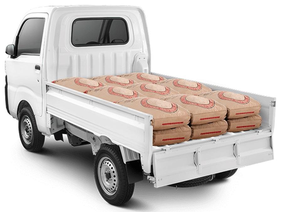 Daya Angkut Daihatsu Hi-Max mampu membawa 18 kantong semen sekaligus