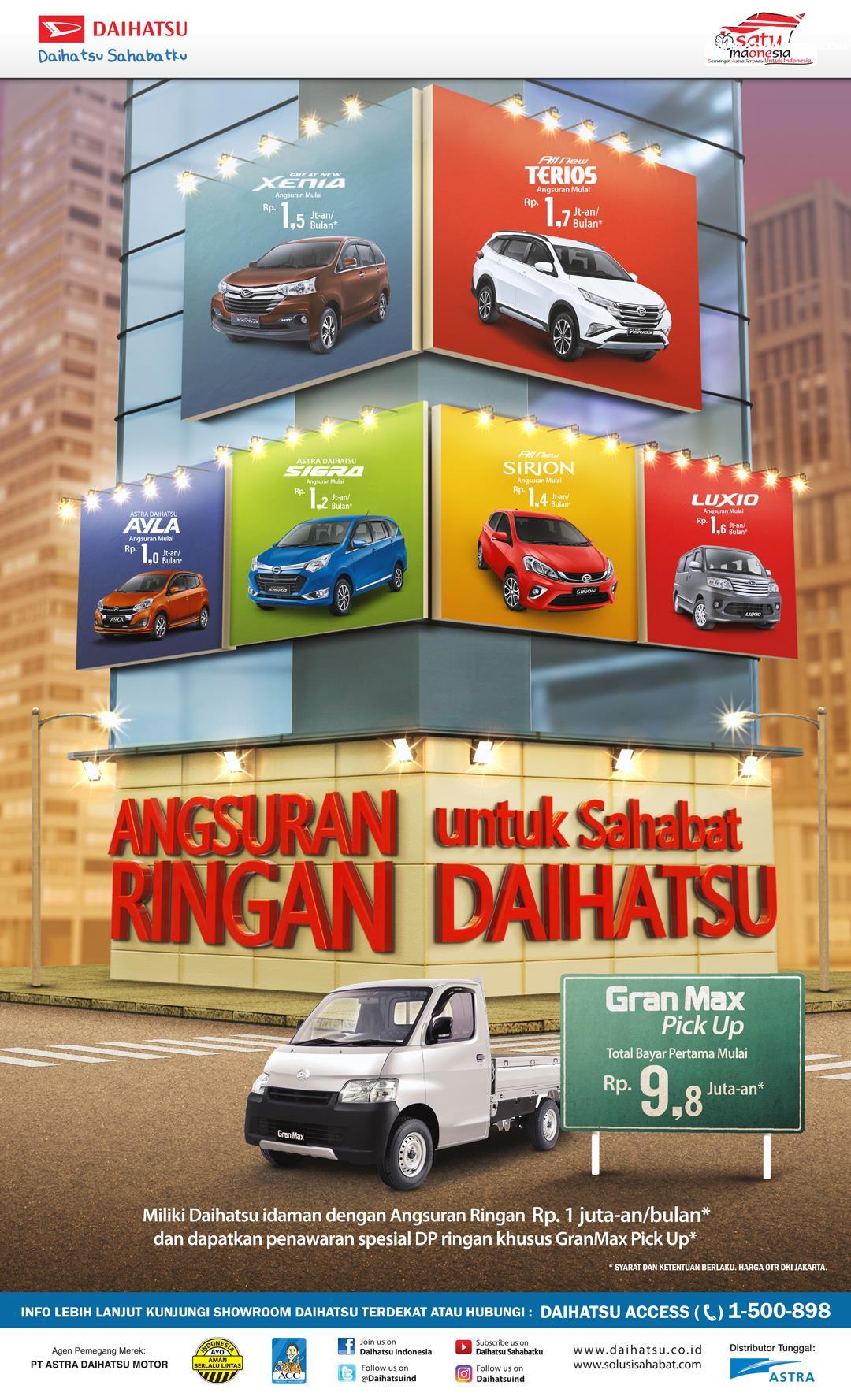 Promo Daihatsu Xenia 2018 memberikan program angsuran hingga Rp. 1,5 jutaan per bulan